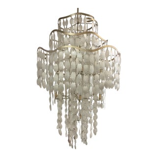 Large Oyster Shell Pearl White Dripping Beads Chandelier For Sale