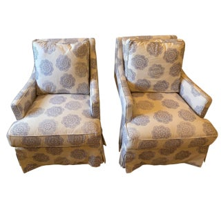 Hand Printed John Robshaw Indigo Fabric Custom Upholstered Chairs - A Pair For Sale