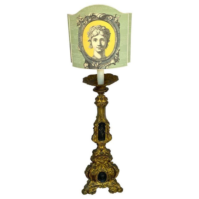 19th Century Italian Bronze Altar Candlestick, Custom Shade, Now Electrified For Sale - Image 13 of 13