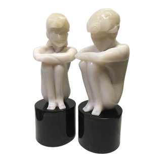 Hand Blown Italian Murano Glass Figures - A Pair For Sale