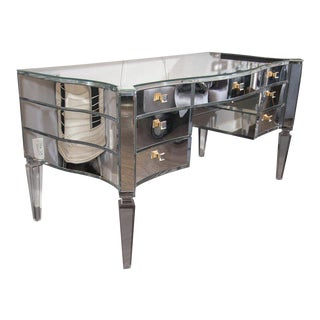 Glamorous Transparent Mirrored Writing Desk For Sale