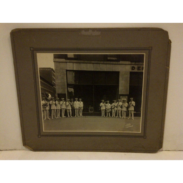 """Vintage black and white photograph of the """"S.S. Leviathan Steamship Liner Band"""". This photo was taken in Buffalo, New York..."""