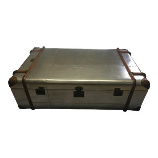 Industrial Aluminum Tom Richards Steamer Trunk Coffee Table For Sale
