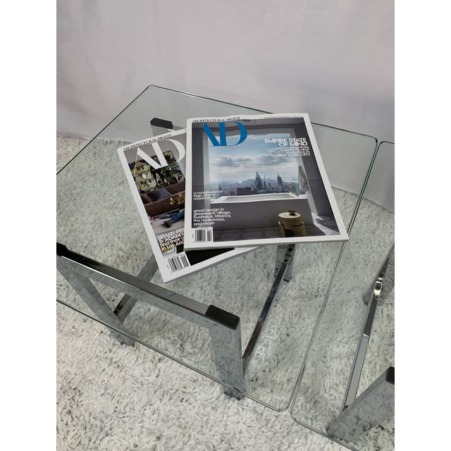 Chrome Milo Baughman Style Mid-Century Chrome and Glass Side End Tables -- a Pair For Sale - Image 8 of 9