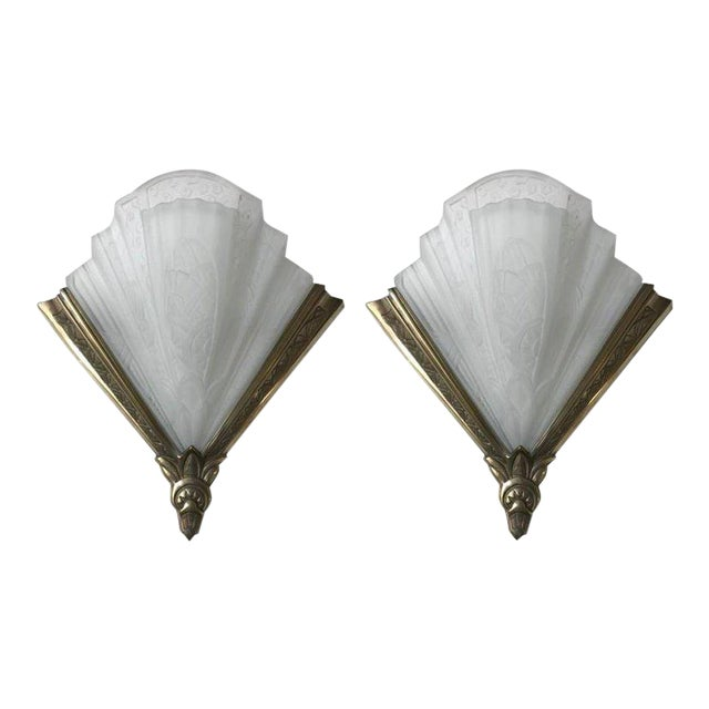 buy online bafb2 515fd Frontisi Flower Wall Sconces French Art Deco - A Pair