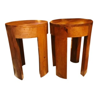 Solid Acacia Wood Round Stools/Side Tables – a Pair