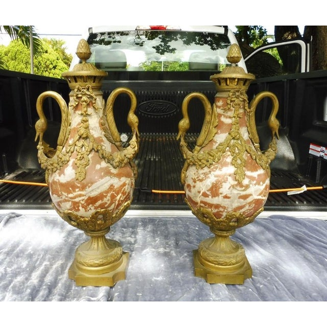 Semi antique Louis 16 French Rouge marble urns with bronze swan heads and mounts. Sold as. Found previously owned and use...