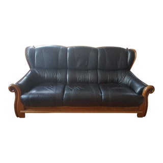 Belgian Leather & Carved Oak Wood Sofa For Sale