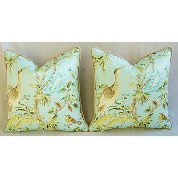 Tropical Egret & Floral Pillows - Pair - Image 8 of 8