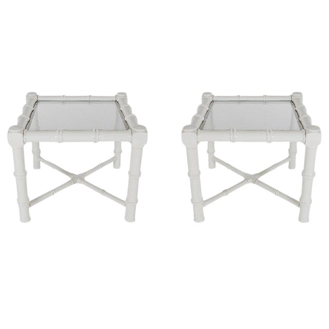 White Faux Bamboo Chinoiserie Tables - A Pair For Sale