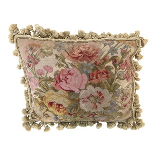 Vintage Flowered Needlepoint Pillow With Fringe For Sale