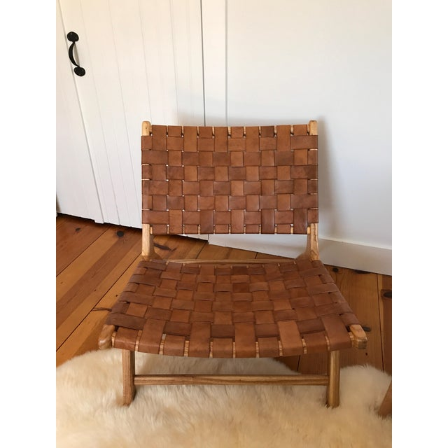 Woven Leather Lounge Chair For Sale - Image 4 of 8