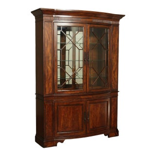 Heirloom Mahogany Large Bow front Breakfront China Cabinet For Sale