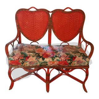 Louis of Boston Wicker Double Width Heart Love Seat For Sale