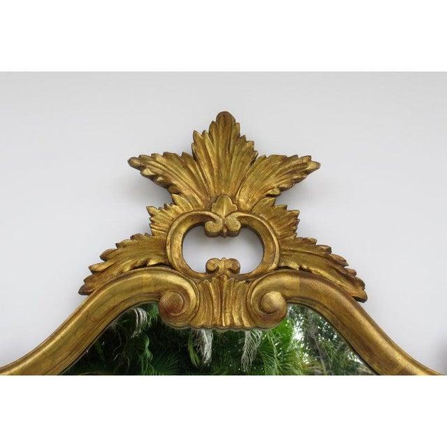 Wood Vintage C.1950's Hollywood Regency Era Italian Venetian Gilt Gold Leaf Carved Mirror For Sale - Image 7 of 13