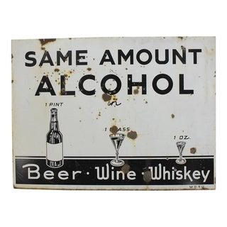 Vintage Original American Prohibition WCTU Double-Sided Sign For Sale