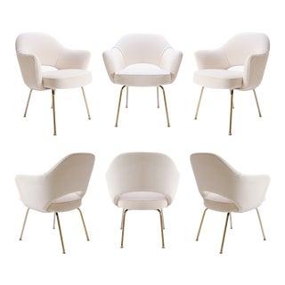Original Saarinen Executive Arm Chairs in Crème Velvet, Custom 24k Gold Edition - Set of 6 For Sale