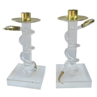 Pair of Brass and Lucite Candlesticks by Allesandro Albrizzi For Sale