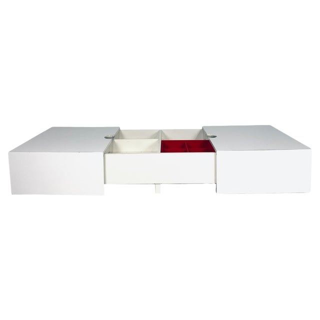 Op-Art Pop White & Stainless Convertible Storage Bar / Coffee Table For Sale