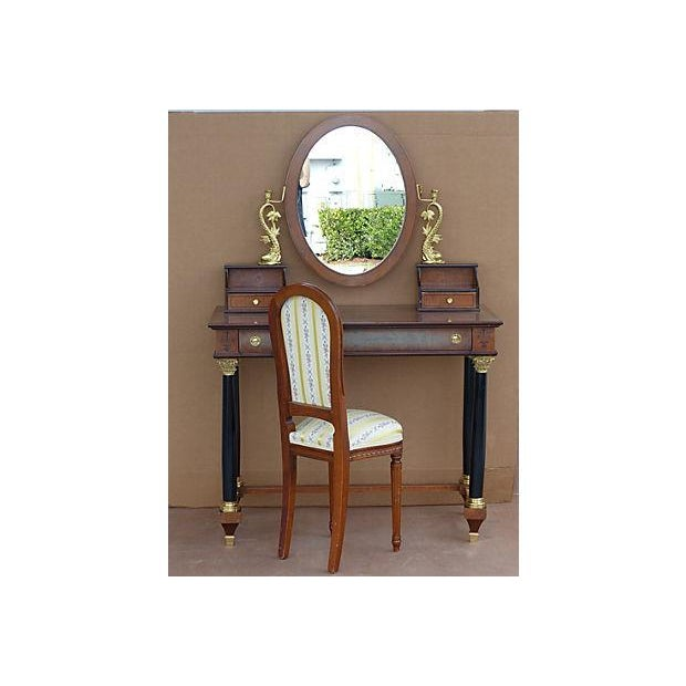 Empire Style Vanity Desk with Mirror & Chair - Image 2 of 11