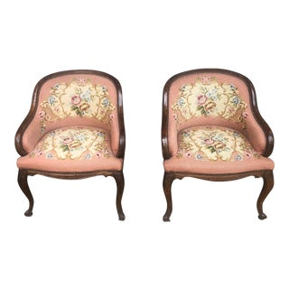 Antique French Oak Needlepoint Armchairs - a Pair For Sale
