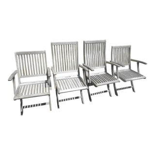 1980s Vintage Gloster Grade-A Teak Wood Folding Arm Chairs- Set of 4 For Sale
