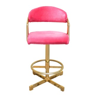 Vintage Brass Barstools With Plush Pink Velvet