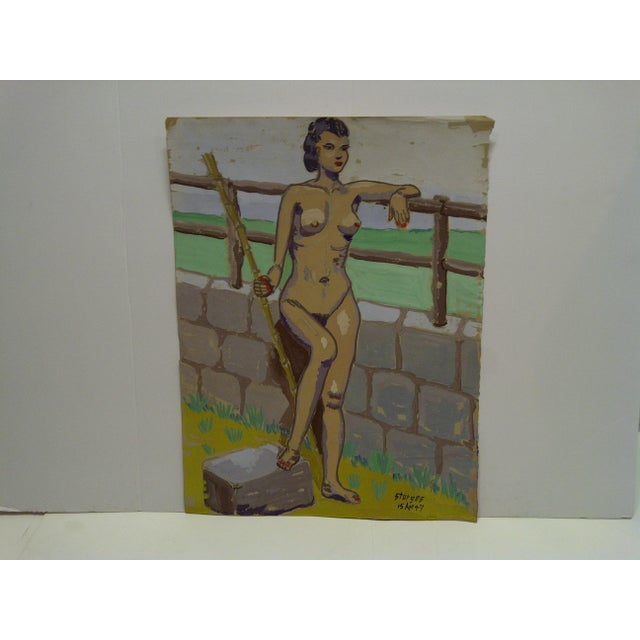 """Original Painting on Paper """"Nude by the Wall"""" by Tom Sturges Jr., 1947 For Sale In Pittsburgh - Image 6 of 6"""