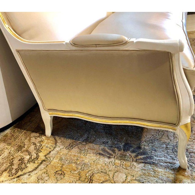 Early 20th Century Gilt and Paint Decorated Settee / Loveseat in a Fine Satin Upholstery For Sale - Image 5 of 13
