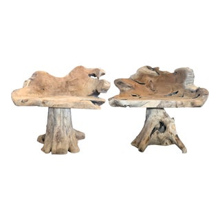 Solid Teak Root Chairs - a Pair For Sale