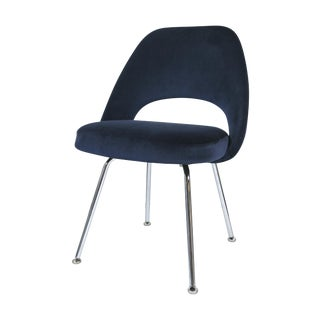 Saarinen Executive Armless Chairs in Navy Velvet For Sale