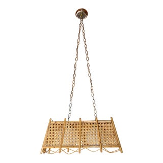 Caned and Rattan Chandelier For Sale