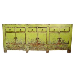 Antique Mongolian Lemon-Lime Sideboard For Sale