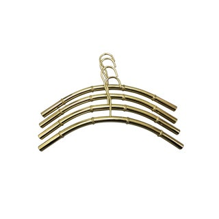 Polished Brass Faux Bamboo Coat Hangers - Set of 4