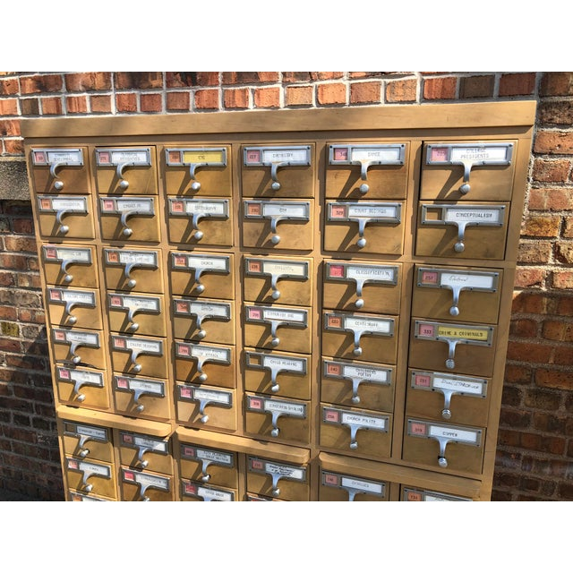 Industrial Mid-Century 72-Drawer Library Card Catalogs For Sale - Image 3 of 12