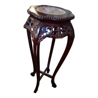 Rosewood Hand Carved Marble Top Pedestal Table For Sale