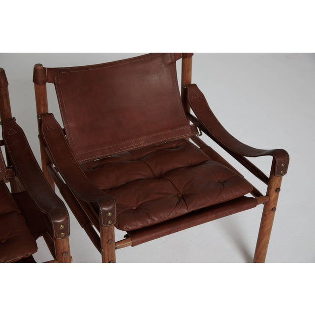 Brown Arne Norell Rosewood and Brown Leather Safari Sirocco Chairs, Sweden, 1960s For Sale - Image 8 of 9