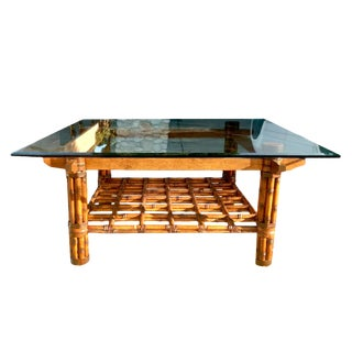 Boho Chic McGuire Square Shaped Glass Top Scorched Fer Forge Bamboo Coffee Table For Sale