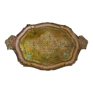 1960s Italian Pink & Gold Florentine Wood Serving Tray For Sale