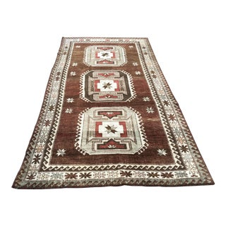 1960s Vintage Handmade Turkish Bohemian Wool Rug- 4′5″ × 8′4″ For Sale