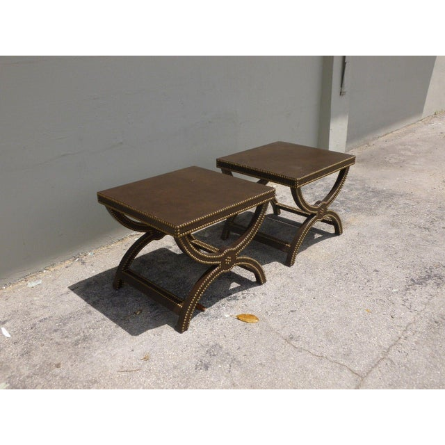 1990s Vintage Post Modern Studded Leather Stretcher Tables- a Pair For Sale - Image 5 of 13
