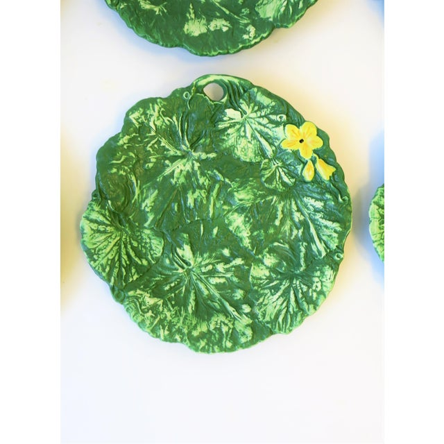 Set of Six Italian Designer Green Matte Pottery Plates With Lotus Design For Sale - Image 4 of 10
