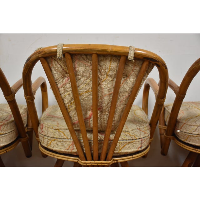 Bamboo Swivel Dining Chairs - Set of 4 - Image 6 of 11