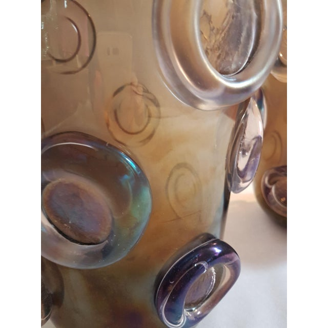 1970s Large Mid Century Modern Brown & Purple Iridescent Vase, by Seguso 1970s For Sale - Image 5 of 8