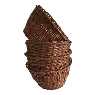 Rustic Natural Wood Baskets, Set of Four For Sale