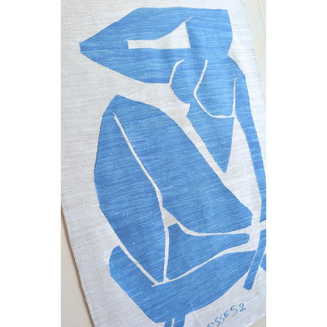Henri Matisse Henri Matisse - Blue Nude 3 - Inspired Silk Hand Woven Rug Flat Weave Area - Wall Rug 4′8″ × 7′ For Sale - Image 4 of 10