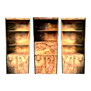 Burlwood Laminate & Chrome Cabinet Wall Unit in the Style of Milo Baughman – Set of Three For Sale