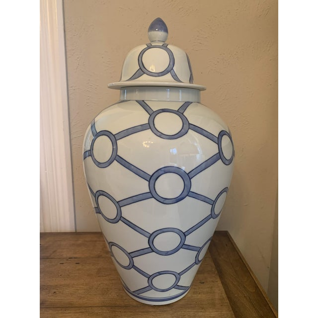 Gorgeous Classic Blue and White Porcelain Temple Jar. The Linked Circles pattern on this jar compliments the Lover's Lock...