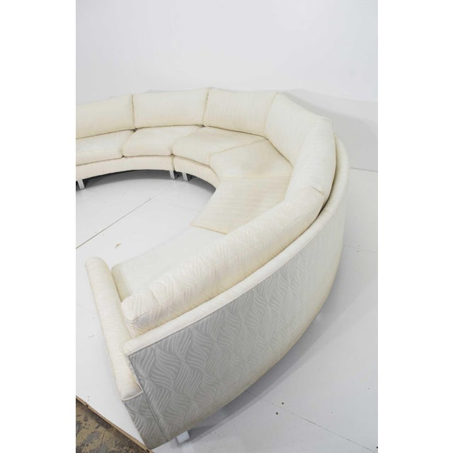 Large Milo Baughman White Upholstered Four Section Circular Sofa For Sale In Dallas - Image 6 of 13