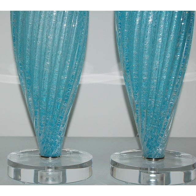 Vintage Murano Pulegoso Glass Table Lamps in Aqua For Sale In Little Rock - Image 6 of 9